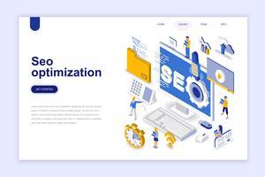 Seo optimering modernt plandesign isometrisk koncept. Sökmotor och folkkoncept. Målsida mall. Konceptuell isometrisk vektor illustration för webb och grafisk design.