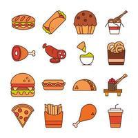 Fast-Food-Abendessen und Menü leckeres Essen und ungesunde Restaurant-Mittagessen-Symbole setzen Linie und Füllstil vektor