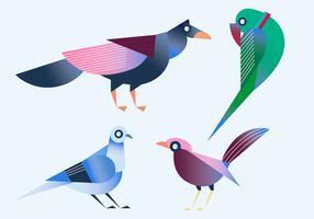 Geometrisk Enkel Form Fågel Vektor Illustration