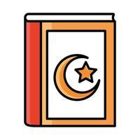 Koran heiliges Buch Eid Mubarak islamische religiöse Feier Linie und Füllsymbol vektor