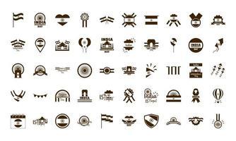 Froher Unabhängigkeitstag Indien Freiheitsfeier nationale Symbole im flachen Stil gesetzt vektor