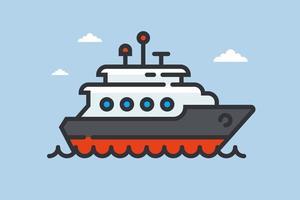 Schiffssymbol auf Wellen. private Yacht auf See. flache Vektorillustration. vektor