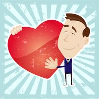 Mann in der Liebe, die ein Herz hält