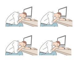 erschöpfter Geschäftsmann liegt auf seinem Schreibtisch. wiederholte Bilder. handgezeichnete Stilvektordesignillustrationen. vektor