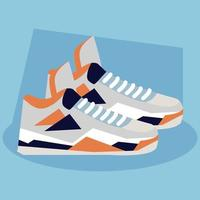 Sneaker, Schuhe Basketball auf blauem Hintergrund vektor