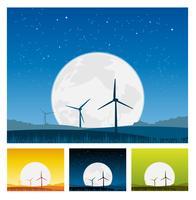 Väderkvarnar inuti landskapet på natten vektor