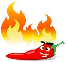 Tecknad röd Hot Chili Pepper vektor