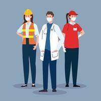Lieferarbeiterin mit Arbeitergruppe in Covid 19, Arbeiter, die eine medizinische Maske gegen Coronavirus tragen vektor