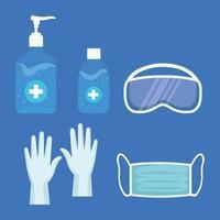 Handdesinfektionsmittel-Pumpflasche, Schutzbrille, Handschuhe und medizinische Maske, Schutz vor Covid 19 vektor