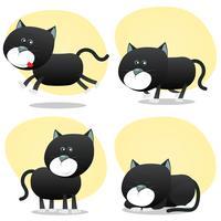 tecknad svart kattuppsättning