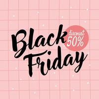 Gullig rosa svart fredag affischdesign