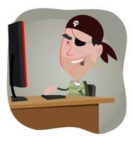 Karikatur-Piraten-Hacker vektor