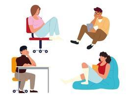 Prokrastination, Leute sitzen mit Tablet gelangweilt und erschöpft vektor