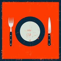 Schmutz-Küchengeschirr - Gabel, Messer und Platte vektor
