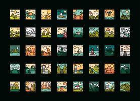 Landschaften verschiedene Szene Panorama Natur Wetter Set Icons Linie und Füllstil vektor