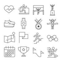 Laufsport Rennen Herzschlag Läufer Podium Schuhe Uhr Trophäe Langhantel Linie Icons Set Design vektor
