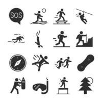 Extremsport aktiver Lebensstil Tauchen Läufer Skate Boxen Silhouette Icons Set Design vektor