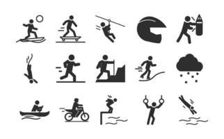 Extremsport aktiver Lebensstil Surfen Skate Kajak Motocross Silhouette Icons Set Design vektor