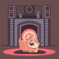 Hund, der nach innen durch Feuer schläft