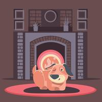 Hund sova vid eld inuti