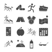 Laufsport Rennen Karte Flagge Berge Trophäe Apfel Langhantel Linie Icons Set Design vektor