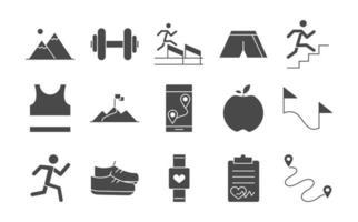 Laufsportrennen Bergflagge Läufer Apfelgewicht Medaillengewinner Linie Icons Set Design vektor