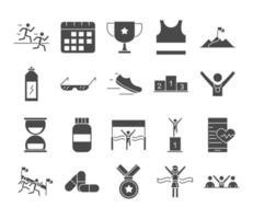 Laufsport Rennen Uhr Medizin Medaille Schuh Macht Getränke Kalender Linie Icons Set Design vektor