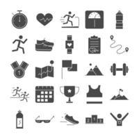 Laufsport Rennen Linie Icons Set Design vektor