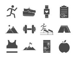 Laufsport Rennen Smart Watch Skala Verlust Track Flag Kalenderlinie Icons Set Design vektor