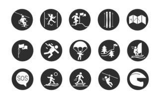 Extremsport aktiver Lebensstil Surfen Skate Kajak Motocross Block und flache Symbole gesetzt vektor