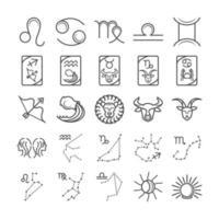 Sternzeichen Astrologie Horoskop Kalender Konstellation Löwe Krebs Jungfrau Waage Zwillinge Symbole Sammlung Linienstil vektor