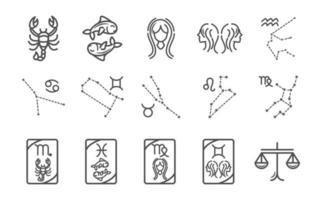 Sternzeichen Astrologie Horoskop Kalender Konstellation Skorpion Fische Jungfrau Zwillinge Waage Symbole Sammlung Linienstil vektor