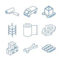 isometrische Reparatur Bauarbeiten Werkzeug und Ausrüstung Hammer Kelle Werkzeugkasten flache Icons Set vektor