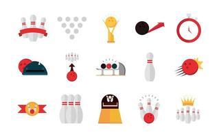 Bowlingspiel Freizeitsport Kegeln Stoppuhr Ball Trophäe flache Icons Set vektor