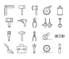 Symbole für Werkzeugreparatur, Wartung und Baumaschinen setzen Liniensymbol vektor