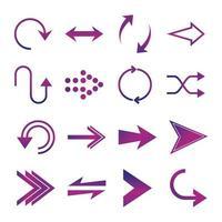 Pfeile Richtung Guide Cursor Web-Navigationssymbole setzen Farbverlaufsstil vektor