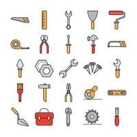 Symbole für Werkzeugreparatur, Wartung und Baumaschinen setzen Linie und Füllen vektor