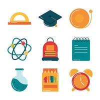 Schulbildungsversorgung Klasse Briefpapier flache Stilikonen eingestellt vektor