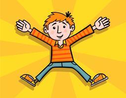 Glad pojke hoppar vektor