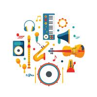 Vektor-Design von Musikinstrument Knolling