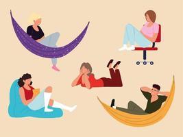 Leute in Hängematte setzen, Boden mit Gerät und entspannender Pose, Aufschieben vektor