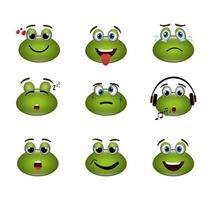 Bündel von Emoticons Frösche Ausdrücke vektor