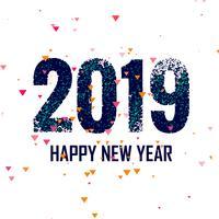 Gott nytt år 2019 med konfetti färgstark bakgrund vektor