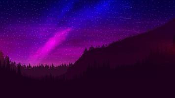 Nachtlandschaft mit einem wunderschönen bunten Himmel und einer Ansammlung von Sternen, bunte Tapeten mit einem Kiefernwald am Horizont und einer Galaxie am Himmel vektor