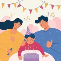 Vektorillustration der Familie, die zusammen Geburtstag ihres Sohns feiert. glückliches Familienurlaubsporträt. Baby Junge bläst die Kerzen auf der Torte aus vektor