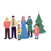 Weihnachtslieder flache Farbvektor gesichtslose Charaktere vektor