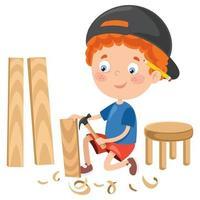 kleiner Cartoon-Zimmermann, der mit Wald arbeitet vektor