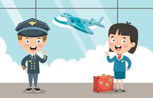 Zeichentrickfiguren von Pilot und Hostess vektor