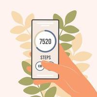 Schrittzähler in einem Mobiltelefon Eine Anwendung, die Schritte zählt und Ihren Gehfortschritt verfolgt vektor