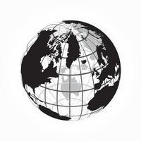 auf der ganzen Welt Umriss der Weltkarte mit Breiten- und Längengrad vektor